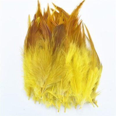 Перья петуха с оттенком 10-15 см. 50 шт. Желтый цвет