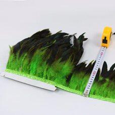 Тесьма из перьев петуха на ленте 12-20 см, 1м. Салатовый цвет