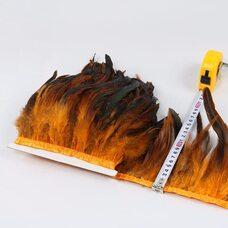 Тесьма из перьев петуха на ленте 12-20 см, 1м. Оранжевый цвет