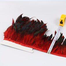 Тесьма из перьев петуха на ленте 12-20 см, 1м. Красный цвет
