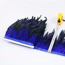 Тесьма из перьев петуха на ленте 12-20 см, 1м. Синего цвета
