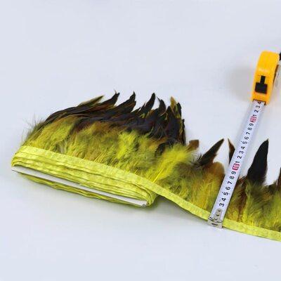 Тесьма из перьев петуха на ленте 12-20 см, 1м. Желтый цвет