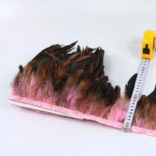 Тесьма из перьев петуха на ленте 12-20 см, 1м. Светло-розовый цвет