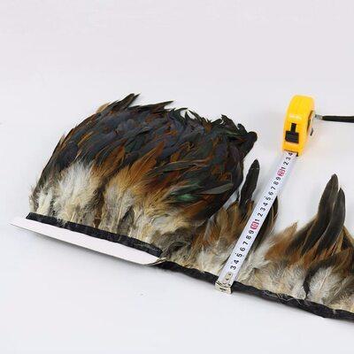 Тесьма из перьев петуха на ленте 12-20 см, 1м. Натуральный цвет