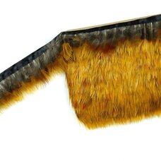 Тесьма из перьев цесарки 5 см, 1м. Желтого оттенка #14
