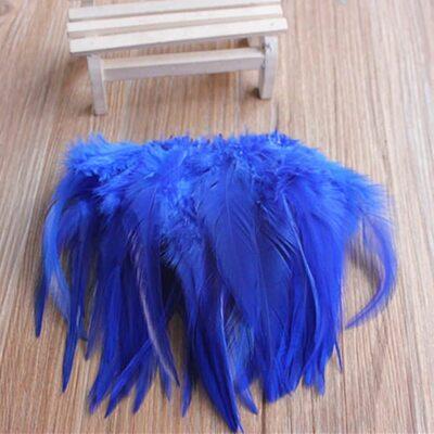 Перья петуха 10-15 см. 20 шт. Синего цвета