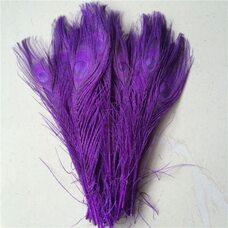 Цветные перья павлина 25-30 см. Фиолетовый цвет