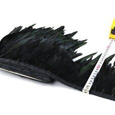 Тесьма из перьев петуха на ленте 12-20 см, 1м. Черный цвет