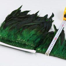 Тесьма из перьев петуха на ленте 12-20 см, 1м. Зеленый цвет