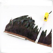 Тесьма из перьев петуха на ленте 12-20 см, 1м. Коричневый цвет
