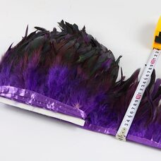 Тесьма из перьев петуха на ленте 12-20 см, 1м. Фиолетовый цвет