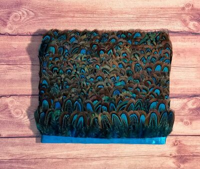 Тесьма из декоративных перьев Pheasаnt 5 см, 1м. - Голубого цвета