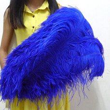 Премиум перья страуса 65-70 см. Синего цвета