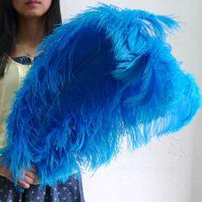 Премиум перья страуса 65-70 см. Голубой цвет