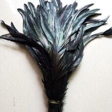 Перья петуха с оттенком. 25-30 см. Черный цвет - 1 шт.