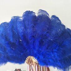 Большой веер из перьев страуса, 1 шт. - Синий цвет