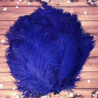 Перья страуса 25-30 см. Синий цвет