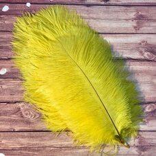 Перья страуса 25-30 см. Желтый цвет