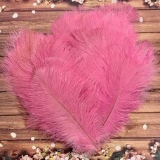 Перья страуса 25-30 см. Розовый цвет