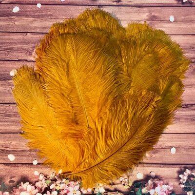 Перья страуса 25-30 см. Золотистого цвета