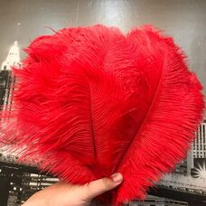Перья страуса 30-35 см. Красный цвет