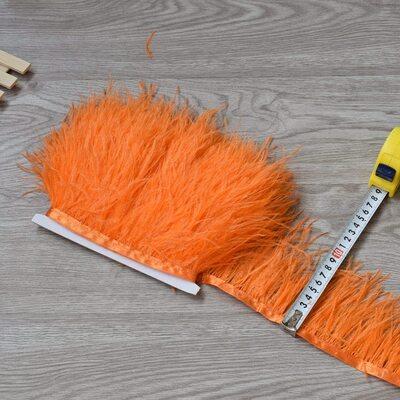 Тесьма из перьев страуса 8-10 см, 1м. - Оранжевый цвет