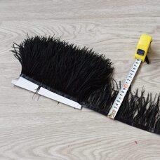 Тесьма из перьев страуса 8-10 см, 1м. - Черный цвет