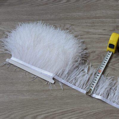 Тесьма из перьев страуса 8-10 см, 1м. - Белый цвет