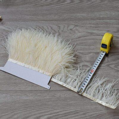 Тесьма из перьев страуса 8-10 см, 1м. - Бежевый цвет