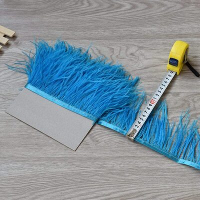 Тесьма из перьев страуса 8-10 см, 1м. - Темно-голубой цвет