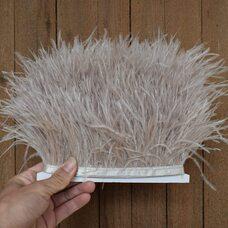 Тесьма из перьев страуса 8-10 см, 1м. - Светло-серый цвет F099