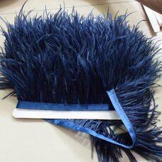 Тесьма из перьев страуса 8-10 см, 1м. - Темно-синий цвет