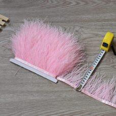 Тесьма из перьев страуса 8-10 см, 1м. - Розовый цвет