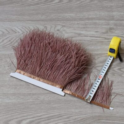Тесьма из перьев страуса 8-10 см, 1м. - Светло-коричневый цвет