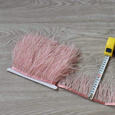 Тесьма из перьев страуса 8-10 см, 1м. - Пыльная роза