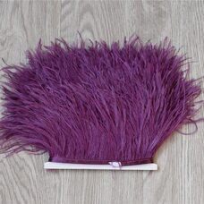 Тесьма из перьев страуса 13-15 см, 1м. - Темно-фиолетовый #4