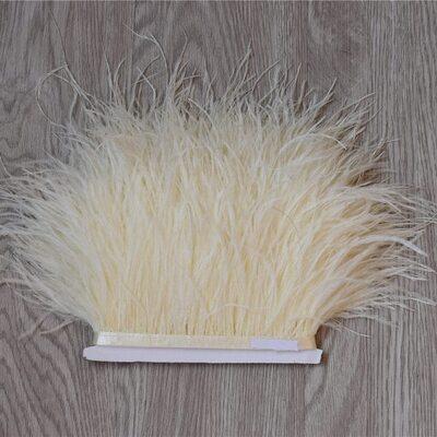 Тесьма из перьев страуса 13-15 см, 1м. - Бежевого цвета
