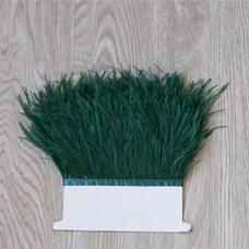 Тесьма из перьев страуса 13-15 см, 1м. - Темно-зеленый цвет