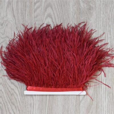 Тесьма из перьев страуса 13-15 см, 1м. - Красное вино