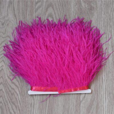 Тесьма из перьев страуса 13-15 см, 1м. - Фуксия