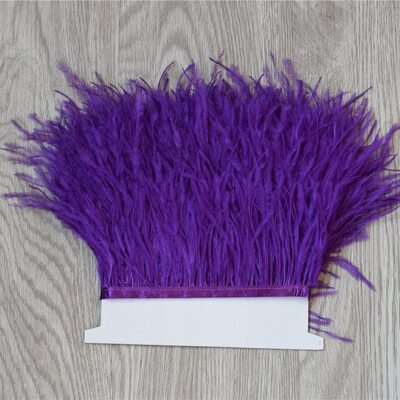 Перья страуса на ленте 13-15 см, 1м. - Фиолетовый цвет
