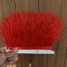 Тесьма из перьев страуса 13-15 см, 1м. - Красный цвет