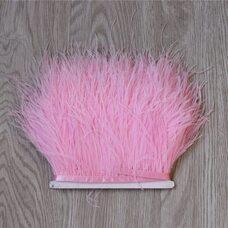Тесьма из перьев страуса 13-15 см, 1м. - Розовый цвет