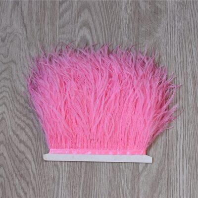 Тесьма из перьев страуса 13-15 см, 1м. - Темно-розовый цвет