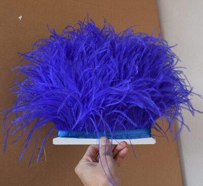 Тесьма из перьев страуса 13-15 см, 1м. - Синего цвета