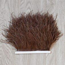 Тесьма из перьев страуса 13-15 см, 1м. - Темно-коричневый цвет