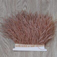 Тесьма из перьев страуса 13-15 см, 1м. - Светло-коричневый цвет