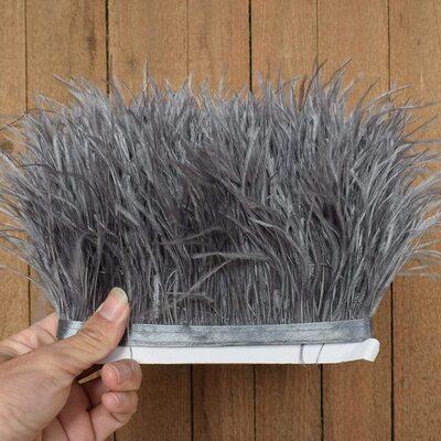 Тесьма из перьев страуса 13-15 см, 1м. - Серый цвет #30
