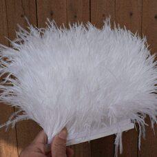 Перья страуса на ленте 13-15 см, 1м. - Белый цвет
