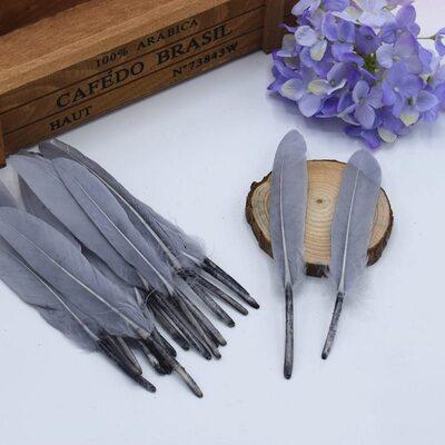 Перья утиные 10-15 см. 20 шт. Серый цвет